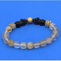 Vòng đeo tay Thạch Anh Tóc Vàng Size 8 ly - Vòng tay Tỳ Hưu Đôi inox đen VTATVTHHEV8 - hợp mệnh Kim, mệnh Thổ