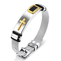 Vòng tay nam thánh giá titanium cao cấp, 3 nấc điều chỉnh size, màu vàng