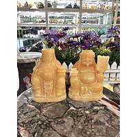 Bộ tượng thờ Tài Địa Thần Tài Thổ Địa đá ngọc hoàng long - Cao 15 cm
