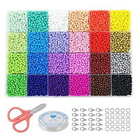 24 Slot Multicolor Baking Paint Beads Set Glass Beads Box Beads for DIY Bracelets and Necklace