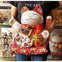 Mèo Thần Tài gốm sứ Nhật Bản tay vẫy 27cm - Tiền Vàng Đầy Hủ (tặng kèm 50 xu vàng mini may mắn)