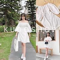 Váy trắng trễ vai triết eo tay bồng tiểu thư xinh xắn/ Đầm suông tay lỡ dáng xòe thời trang nữ_kudoshop