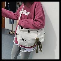 Túi đeo chéo ulzzang bán nguyệt lớn kèm ngăn nhỏ cách điệu vải canvas thời trang teen hottrend
