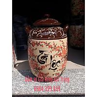 Hũ đựng gạo tài lộc hoa đào gốm Gia Hưng Bát Tràng