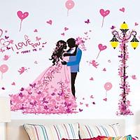 decal dán tường cô dâu chú rể hạnh phúc