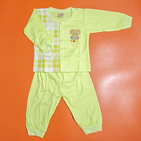 Bộ quần áo tay dài trẻ sơ sinh TiTi voi con caro (4 màu)