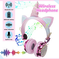 2 Colors Bluetooth Wireless Earphones with Microphone Music Stereo Computer Mobile Phone Kids Gift