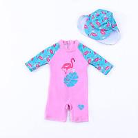 Đồ bơi liền thân bé gái hình hồng hạc kèm nón bơi