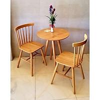 Bàn tròn cafe, bàn sofa 4 chân, mặt bàn gỗ cao su tròn 60cm x 75cm