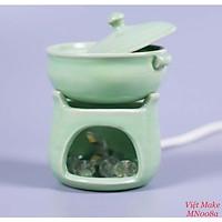 Đèn gốm bếp đơn xanh ngọc Gốm Sứ Bát Tràng trang trí nội thất, đèn để bàn phòng ngủ hàng chính hãng.