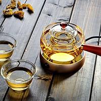 Ấm pha trà, tống trà  thủy tinh có tay  cầm màu gỗ kèm lõi lọc cao cấp - ANTH457