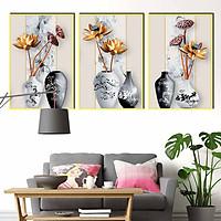 Bộ 3 tranh canvas treo tường Decor Bình hoa sen - DC087