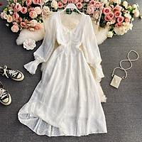 (Sẵn M kem) Váy ren trắng form matxi tay bo phồng ren sọc xinh xắn