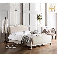 Giường Ngủ Bọc Nệm Đầu Giường Rose Ý Cao Cấp Màu Trắng Kem GN-510