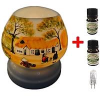 Combo 2 chai tinh dầu (Bạc hà và sả chanh) Eco 10ml  và đèn xông tinh dầu tam giác TG07 và 1 bóng đèn