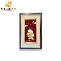 Tranh thuyền Thuận buồm xuôi gió dát vàng (40x65cm) MT Gold Art- Hàng chính hãng, trang trí nhà cửa, phòng làm việc, quà tặng sếp, đối tác, khách hàng, tân gia, khai trương