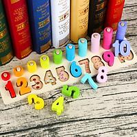 Bảng Học Đếm Bậc Thang 10 Cột Tính Bằng Gỗ Theo Phương Pháp Montessori Cho Bé