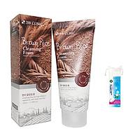 Sữa Rửa Mặt 3W CLINIC BROWN RICE Chiết Xuất Từ Gạo + Tặng Kèm Bông Tẩy Trang JOMI Nhật 80 Miếng