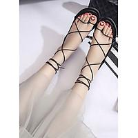 Giày sandals nữ buộc dây kiểu chiến binh C62 đen