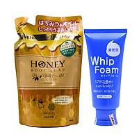 Combo 1 Túi Sữa Tắm Trắng Da Dưỡng Ẩm Mềm Mịn Mật Ong Nhật Bản HONEY OIL 450ML + 1 Sữa Rửa Mặt Trắng Da Tạo Bọt Nhật Bản Amika Whip Foam 120G