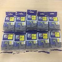 Combo 10 cuộn nhãn in TZ2-651 tiêu chuẩn - Chữ đen trên nền vàng 24mm - Hàng nhập khẩu