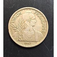 Đồng Xu Cổ Đông Dương 1 Piastres Năm 1947 - Đồng Xu Thật Shop Chụp