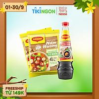 [Chỉ giao HN] Combo Maggi vị chay: 2 gói hạt nêm nấm hương 450g + 1 chai nước tương đậm đặc 700ml