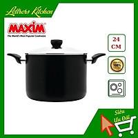 Nồi chống dính nhập khẩu cao cấp MAXIM 24cm - sử dụng trên bếp từ - nắp kiếng cường lực - màu sắc nổi bật