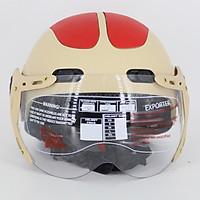 Mũ bảo hiểm nửa đầu SRT có kính hai bàn chân - Kem đáp đỏ