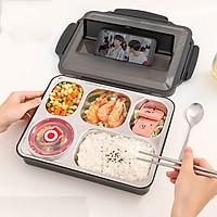 Khay cơm 5 ngăn inox 304 giữ nhiệt ,nắp đậy có khe đựng điện thoại, tặng kèm thìa và đũa inox - màu đen