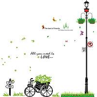 Decal dán tường Combo xe đạp và cột đèn xanh AmyShop (200 x 200 cm)