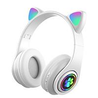 Tai nghe chụp tai bluetooth tai nghe mèo headphonecó đèn LED+ micro dùng được cho cả điện thoại, máy tính và laptop tặng kèm 1 móc khóa chữ Bamboo