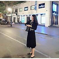 chân váy nữ dập ly dáng dài cạp chun