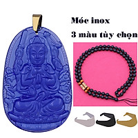 Vòng cổ mặt Phật tuổi Tý - Dây hạt đen Thiên Thủ Thiên Nhãn pha lê xanh dương VHTREGFLXDB7