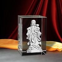 Tượng Ông Phúc 3D Trong Khối Pha Lê - Quà May Mắn/ Mừng Thọ/Khai Trương/Tân Gia