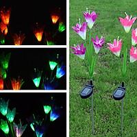 2PCS 4-head Solar-powered LED Lily Lawn Light with Colourful Light Waterproof Light Sensor Lamp Festival Yard Decoration