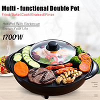 2 in 1 l Stone Electric BBQ Grill Nonstick Teppanyaki and Hot Pot Set Asian Soup Stone Coated Korean Style Electric Teppanyaki Griddle BBQ Grill Black- 1700W