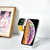 Giá đỡ kiêm đếsạc không dâyđể bàn hợp kim nhômcho Apple Watch & điện thoại & AirPods hiệu Coteetci WS-18 / CS5169 cho iPhone Samsung Oppo Huawei Xiaomi Nokia(Sạc cùng lúc 3 thiết bị, đạtchuẩn MFi Apple) - Hàng nhập khẩu