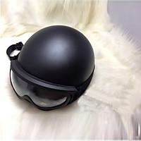 Combo Nón bảo hiểm nửa đầu đen nhám + kèm kính _ Mũ bảo hiểm đẹp 1/2 đầu