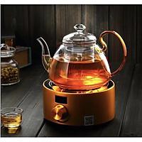 Ấm trà thủy tinh quai vàng cao cấp - 1100ml - ANTH483