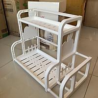 Kệ nhà bếp đa năng 2 tầng tiện ích bằng nhựa chắc chắn (Có hình chụp thật thực tế sản phẩm)