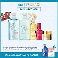 Bộ 5 Tsubaki mát lạnh sạch dầu và chăm sóc tóc chuẩn salon (Gội Xả 490ml/chai + Xịt dưỡng tóc 220ml + Mặt nạ tóc 180g + Dầu dưỡng 50ml)