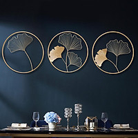 Nordic Style Hanging Pendant Ginkgo Leaf Shape Metal Wall Art for Living Room Decoration
