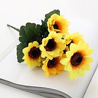 Cành 7 bông hoa hướng dương giả để bàn trang trí nội thất
