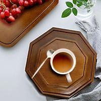 Đĩa gỗ tự nhiên nguyên khối màu nâu hình bát giác đựng trà bánh đồ ăn đĩa gỗ decor phụ kiện phòng ăn