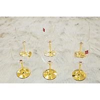 Bộ ly pha lê Rona mạ vàng chân ly 1314, uống rượu vang dung tích 450ml