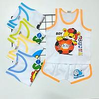 Combo 5 bộ quần áo ba lỗ trắng viền màu mùa hè cho bé trai, bé gái SS-TomTom002