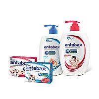 Bộ Đôi Nước Rửa Tay Bảo Vệ Da Kháng Khuẩn ANTABAX 250ml x 2 & Xà Bông Kháng Khuẩn ANTABAX 85g x 2 - Loại bỏ 99.9% vi khuẩn - TẶNG kèm 10 gói sữa tắm bỏ túi tiện lợi
