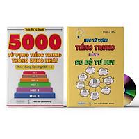 Sách- Combo 2 sách 5000 từ vựng tiếng Trung thông dụng nhất theo khung HSK từ HSK1 đến HSK6+ Học từ vựng tiếng trung bằng sơ đồ tư duy +DVD tài liệu