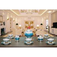 Bộ bình trà sứ Tiệp cao cấp mạ vàng 3-071, màu xanh lục, phong cách tân cổ điển sang trọng